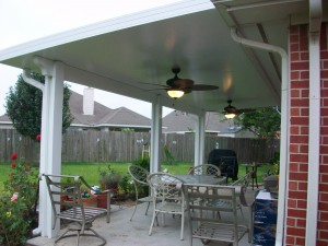 Houston Patio Covers with Insulated Roof Panel and Outdoor Patio Ceiling Fans.